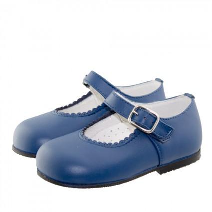 Merceditas niña hebilla piel Azul Francia 32€ +INFO EN MINISHOES