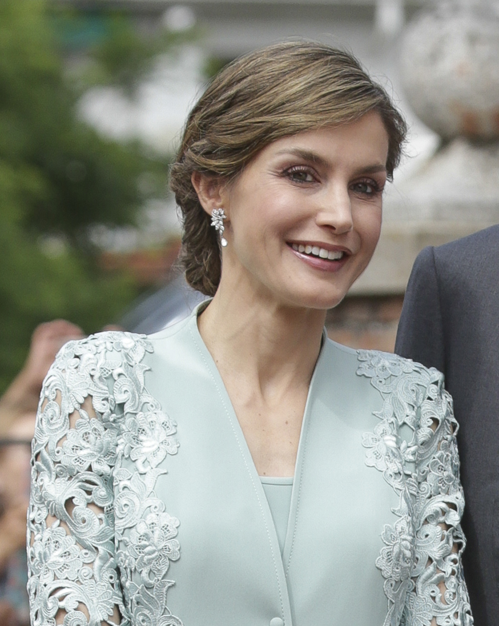 Spanish Queen Letizia Ortiz and emeritus King Juan Carlos I during Princess Sofia's first communion in Madrid, Spain, Wednesday, May 17, 2017.