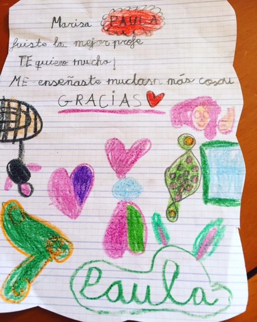 Este dibujo ha hecho Paula a la maestra del otro cole....