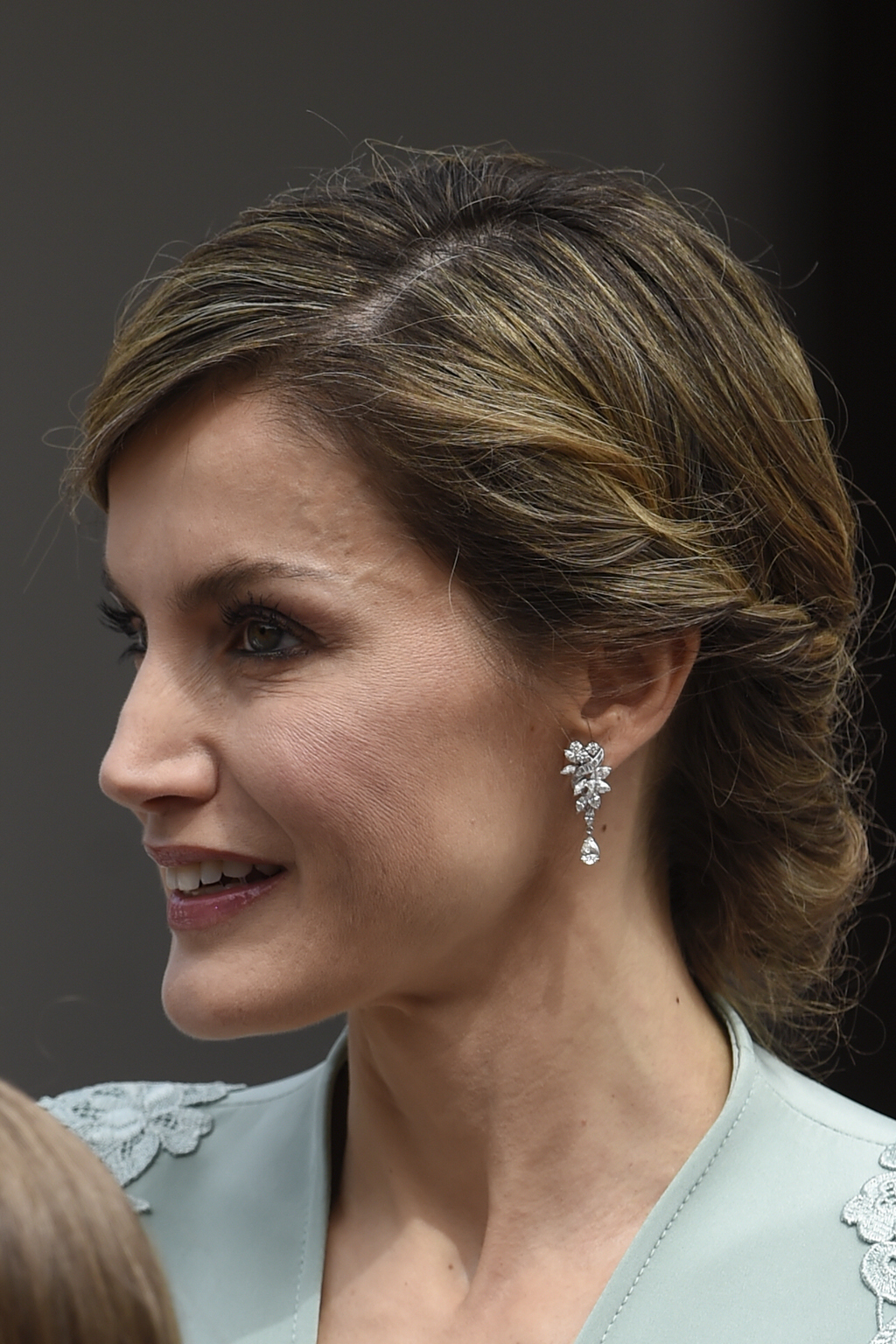 Spanish Queen Letizia during Princess Sofia's first communion in Madrid, Spain, Wednesday, May 17, 2017.